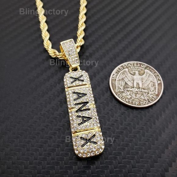 11cdb6f517ad0 Gold plated Xanax Pendant & 4mm 24